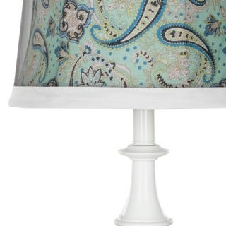 Safavieh Lighting 24.5-inch Turquoise Paisley Shade White Table Lamps (Set of 2)