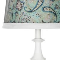Safavieh Lighting 24.5-inch Turquoise Paisley Shade White Table Lamp (Set of 2)
