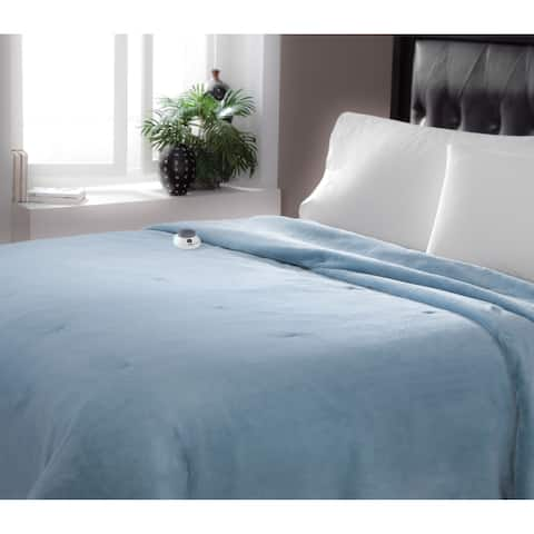 Serta Brand Soft Luxe Plush Electric Warming Blanket