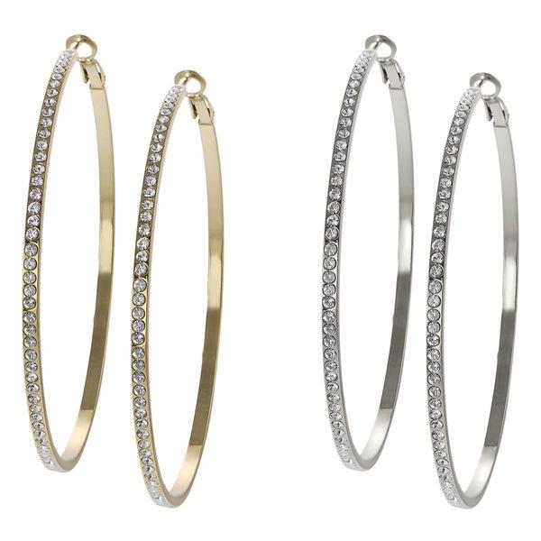 Journee Collection Base Metal Crystal Hoop Earrings