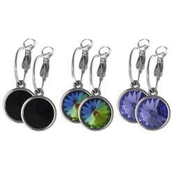 Journee Collection Silvertone Crystal Dangle Hoop Earrings