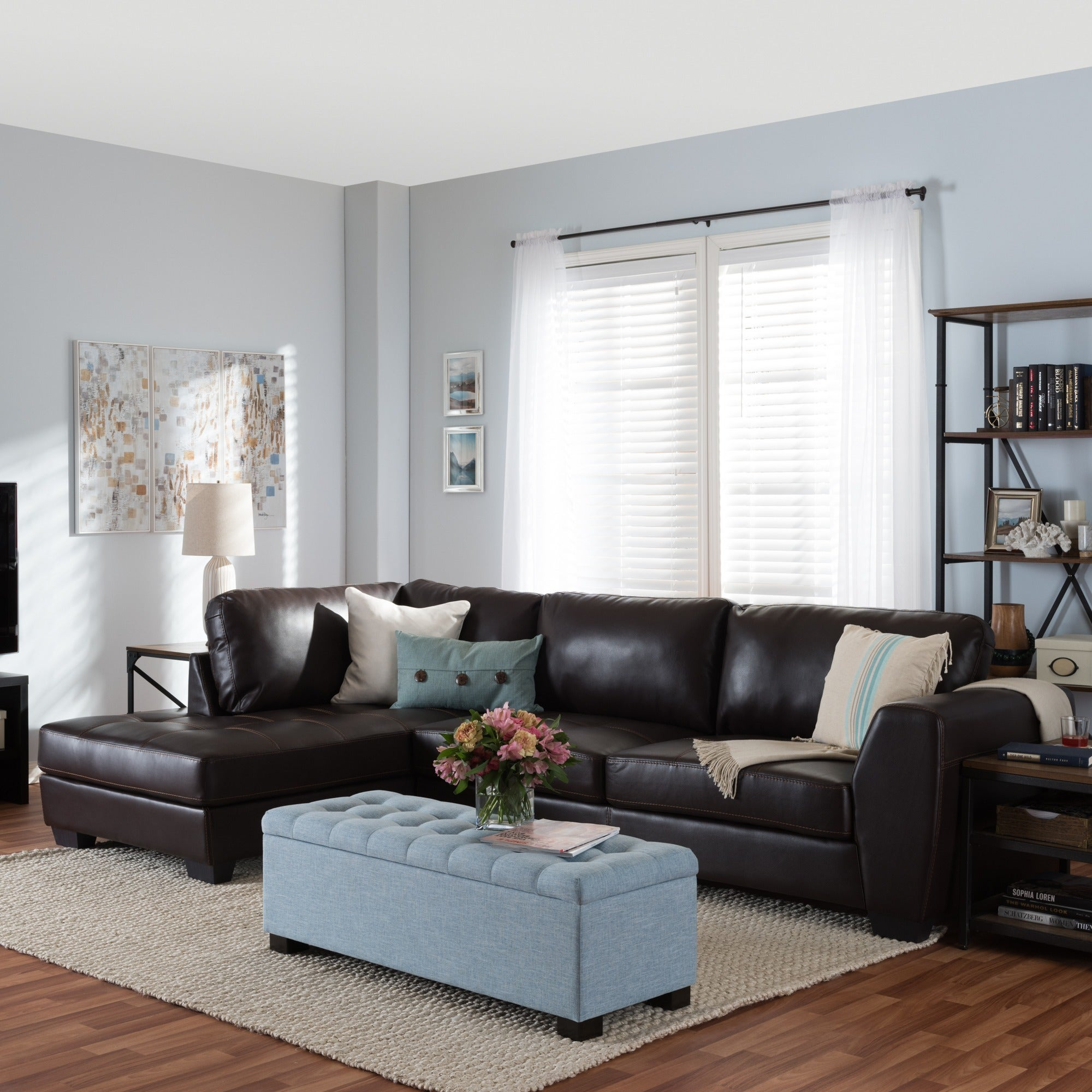 Orland Brown Leather Modern Sectional Sofa Set With Left Facing Chaise Free Shipping On Orders Over 45 7123337