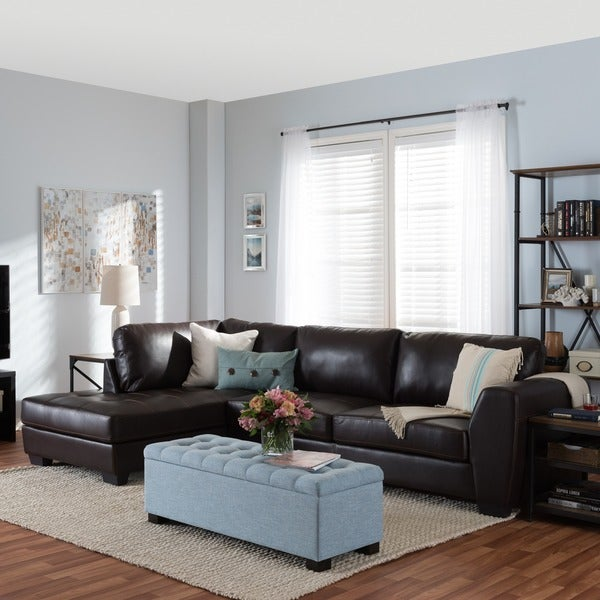 Orland Brown Leather Modern Sectional Sofa Set with Left Facing