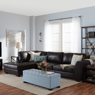 Orland Brown Leather Modern Sectional Sofa Set with Left Facing Chaise -  Free Shipping Today - Overstock.com - 14618409