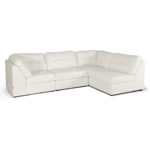 Warren White Bonded Leather Modern Modular Sectional Sofa Set