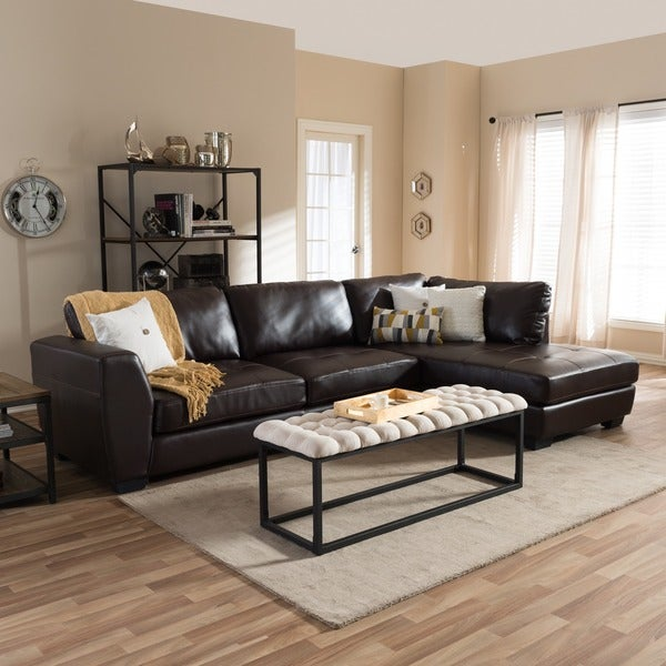 Baxton Studio Orland Brown Bonded Leather Modern Sectional Sofa Set with Right Facing Chaise