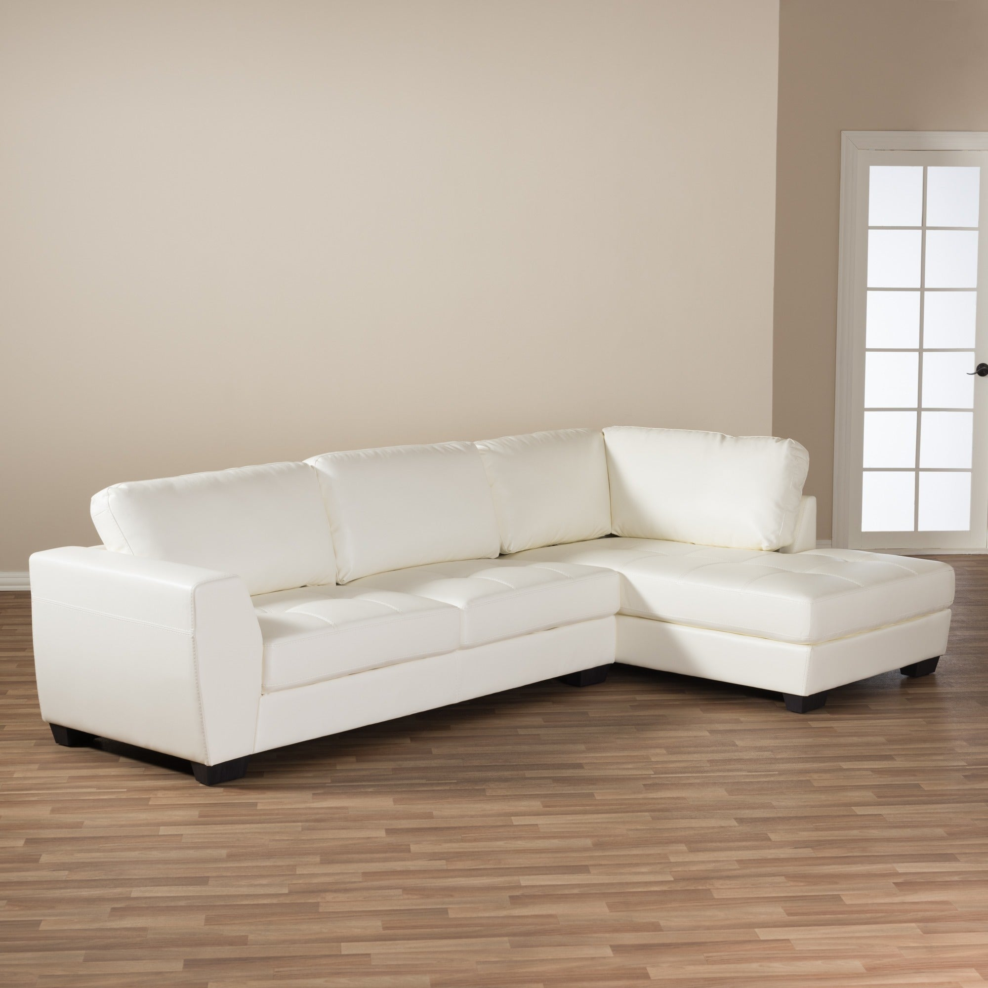 Orland White Leather Modern Sectional Sofa Set With Right Facing Chaise