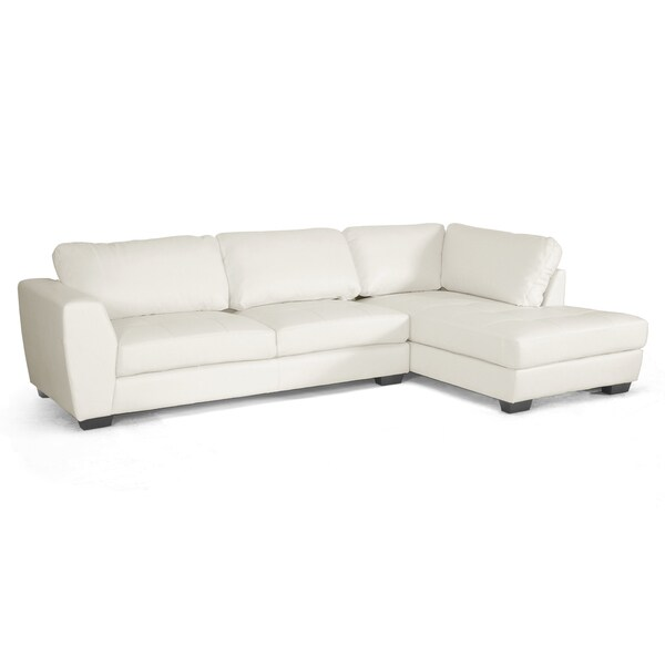 Orland White Leather Modern Sectional Sofa Set with Right Facing Chaise - Free Shipping Today ...