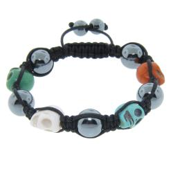 Eternally Haute Hematite Gemstone and Multi-color Skull Macrame Bracelet