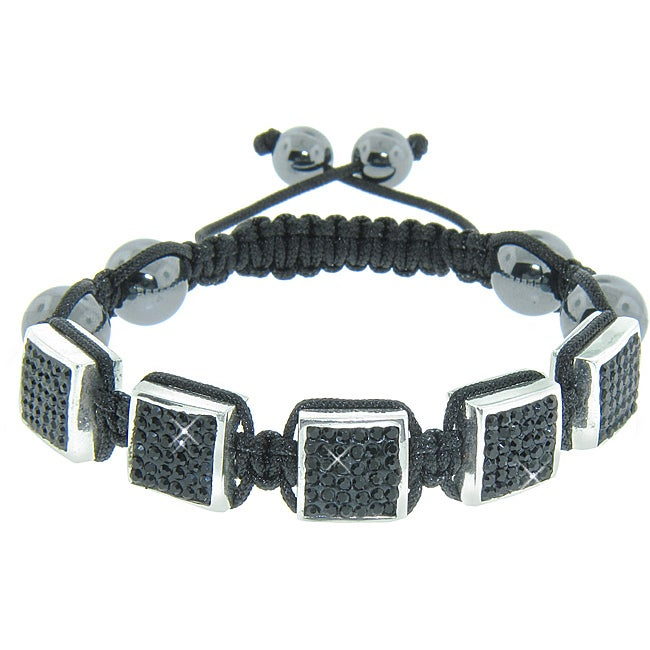 Eternally Haute Hematite Gemstone, Jet Black Czech Crystals and Square Stations Macrame Bracelet