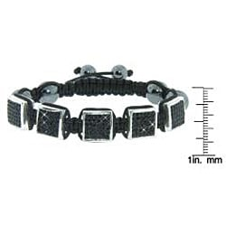 Eternally Haute Hematite Gemstone, Jet Black Czech Crystals and Square Stations Macrame Bracelet - Thumbnail 2