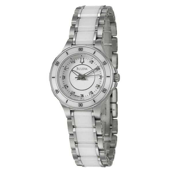 Bulova Women's 98P124 Stainless Steel and Ceramic Diamond Watch