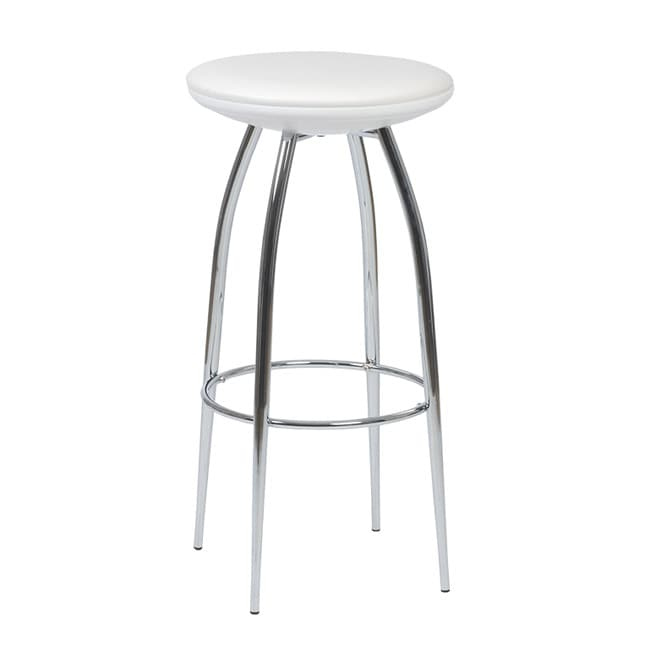 Euro Style Bernie White PVC/Chromed-Steel Barstool (Set of Two)