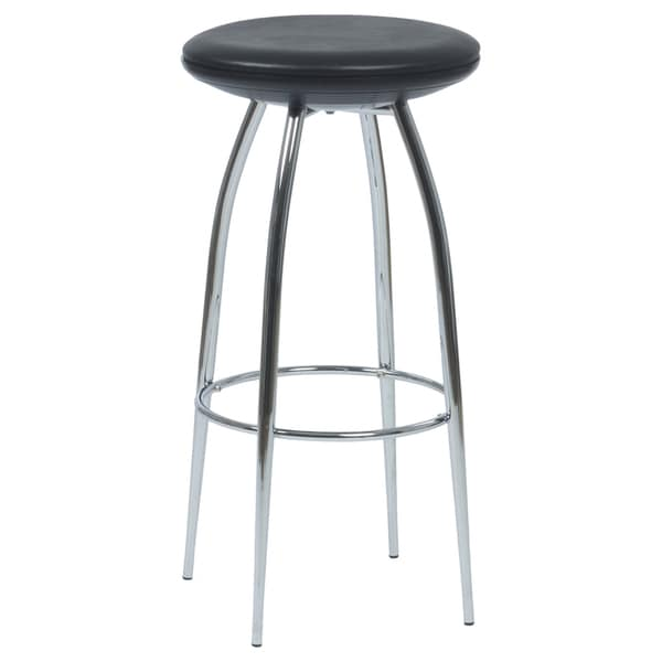 "Bernie 30"" Black/Chrome Bar Stool, Set of 2"