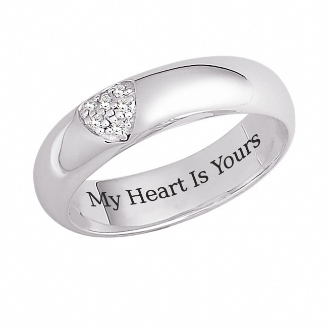 Sterling Silver 'My Heart is Yours' Engraved CZ Heart Promise Ring - Thumbnail 0