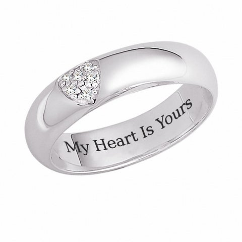 Sterling Silver 'My Heart is Yours' Engraved CZ Heart Promise Ring