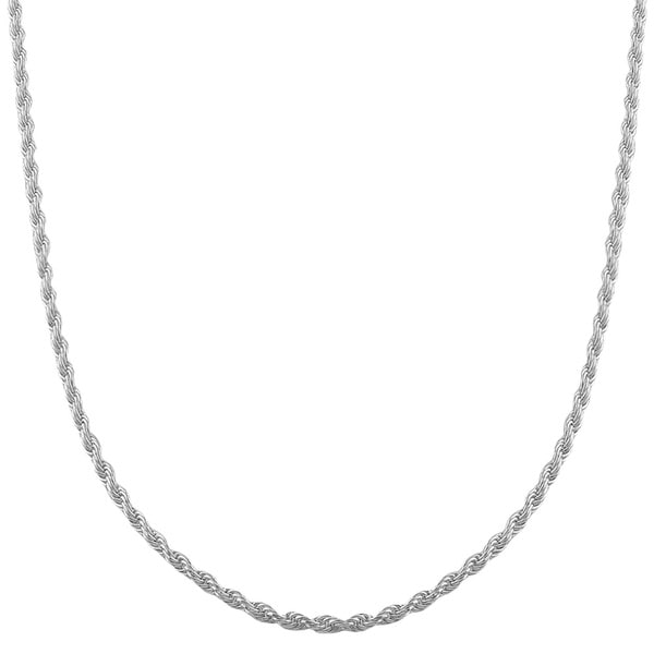 Fremada Sterling Silver Diamond-cut Rope Chain