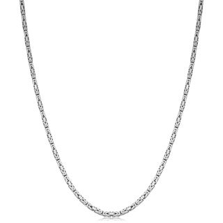 Link to Sterling Silver 1.8 millimeters Square Byzantine Chain Necklace Similar Items in Men's Jewelry