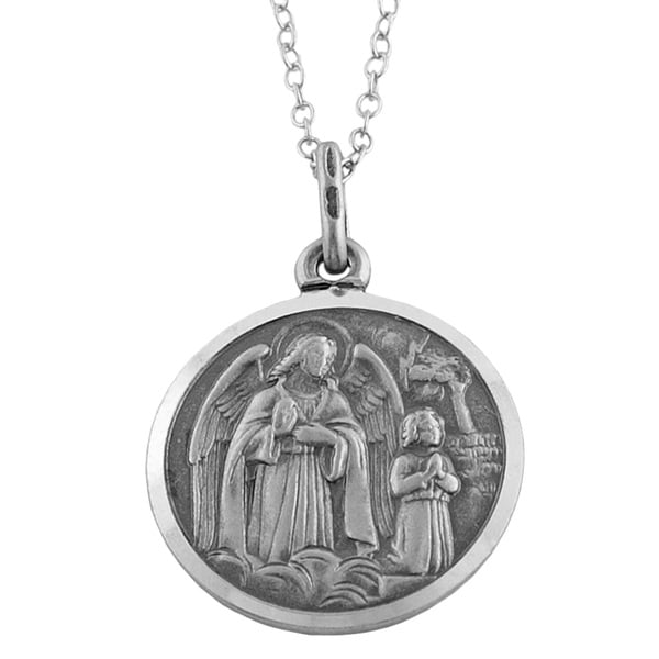 Fremada Oxidized Sterling Silver Guardian Angel Medal Necklace