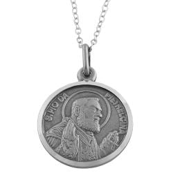 Fremada Oxidized Sterling Silver Padre Pio Medal Necklace