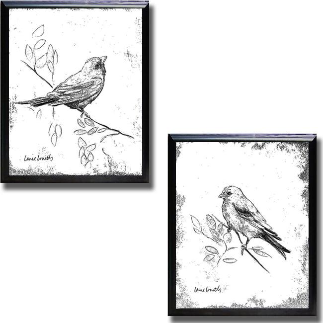 Lanie Loreth 'Songbird III and IV' Framed 2-piece Canvas Art Set