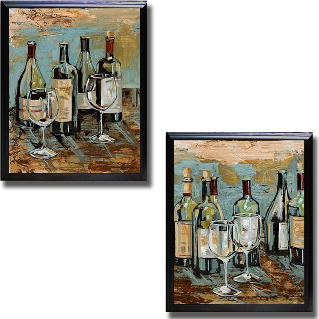 Heather French-Roussia 'Wine I and II' Framed Canvas Art - Wine