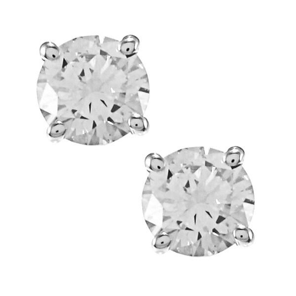 Auriya 14k Gold 1/2ct TDW Clarity-enhanced Diamond Stud Solitaire Earrings