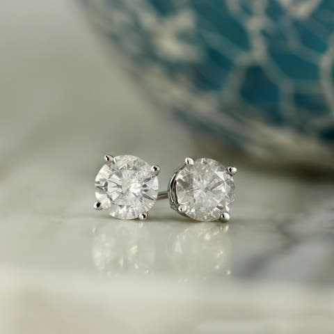40572c86f Auriya 14k Gold 1/2ct TDW Clarity-Enhanced Diamond Solitaire Stud Earrings