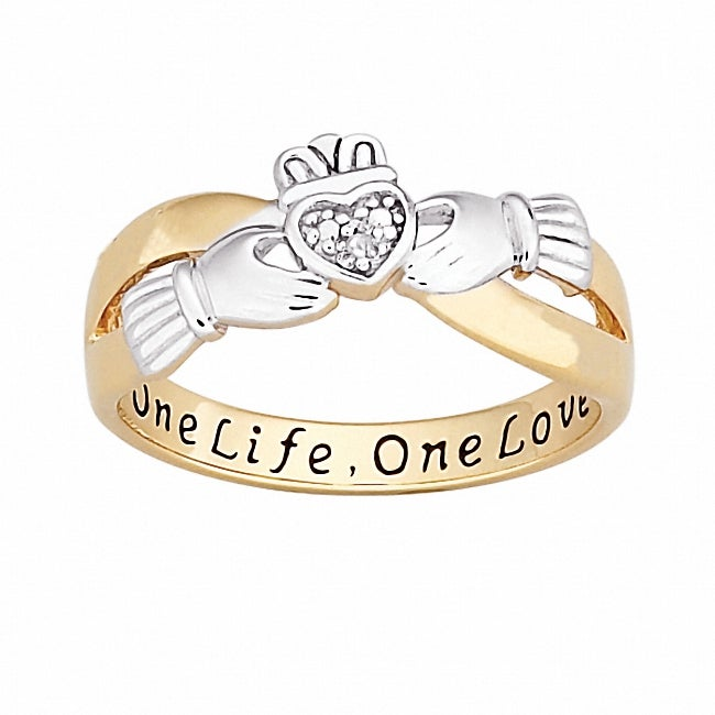 18k Gold over Silver Two-tone 'One Life, One Love' Engraved Claddagh Diamond Ring - Thumbnail 0