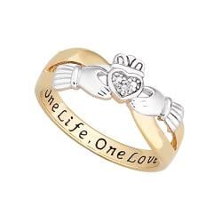 18k Gold over Silver Two-tone 'One Life, One Love' Engraved Claddagh Diamond Ring - Thumbnail 1