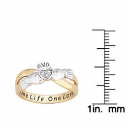 18k Gold over Silver Two-tone 'One Life, One Love' Engraved Claddagh Diamond Ring - Thumbnail 2