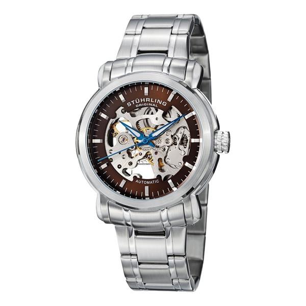 Stuhrling Original Men's 'Delphi Antium' Automatic Skeleton Bracelet Watch