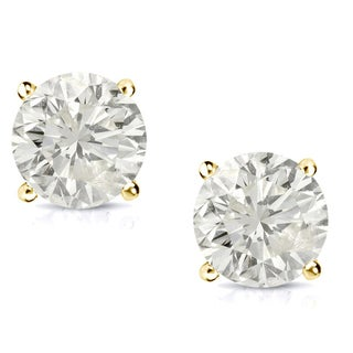 Auriya 14k Gold 3/4ct TDW Clarity-Enhanced Diamond Solitaire Stud Earrings (More options available)