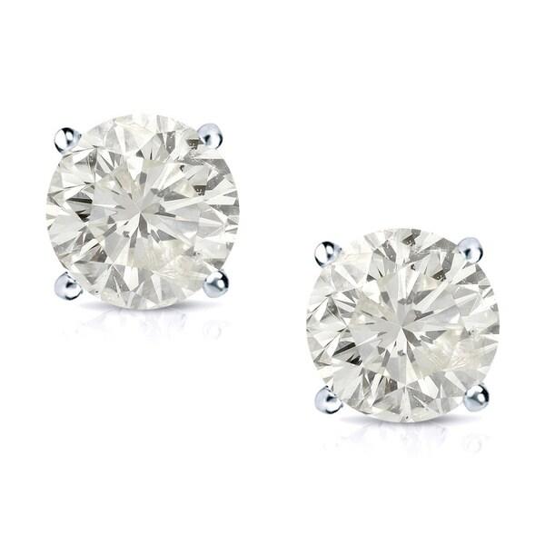 Auriya 14k Gold 3/4ct TDW Round Clarity-Enhanced Diamond Stud Earrings