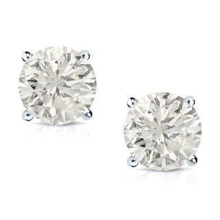 Auriya 14k Gold 3/4ct TDW Round Clarity-Enhanced Diamond Stud Earrings