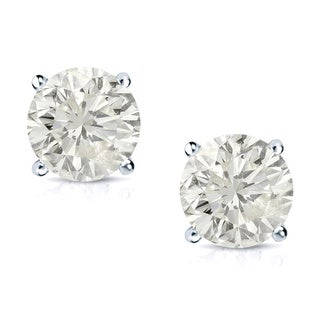Auriya 14k Gold 3/4ct TDW Clarity-Enhanced Diamond Solitaire Stud Earrings