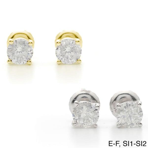 Auriya 18k Gold 1 1/2ct TDW Clarity-enhanced Diamond Stud Earrings