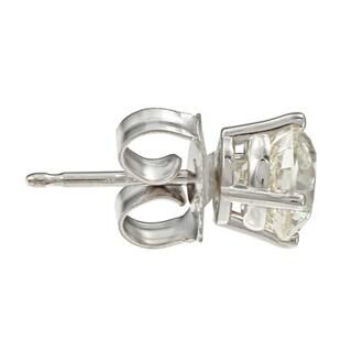 18k Gold 1 1/2ct TW Round Clarity Enhanced Diamond Stud Earrings