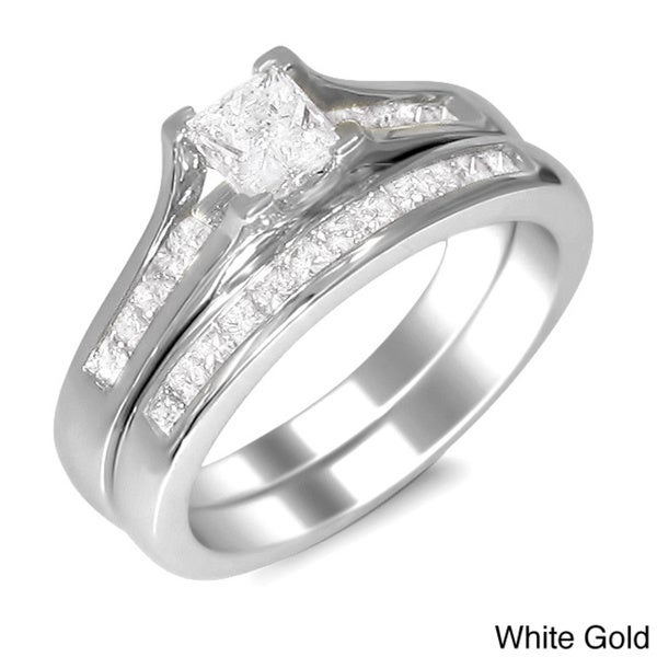 Montebello 14k Gold 1ct TDW Princess-cut Diamond Bridal Ring Set (H-I, SI2)