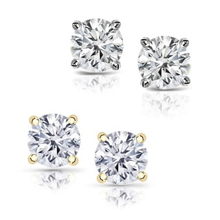 14k Gold 1 1/4ct TDW Clarity-enhanced Diamond Stud Earrings (Color and Clarity vary)
