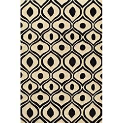 "Modern Waves Black Hand-Tufted Rug (5' x 7'6"")"