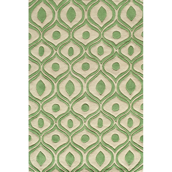 Modern Waves Green Hand-Tufted Rug (8' x 10')