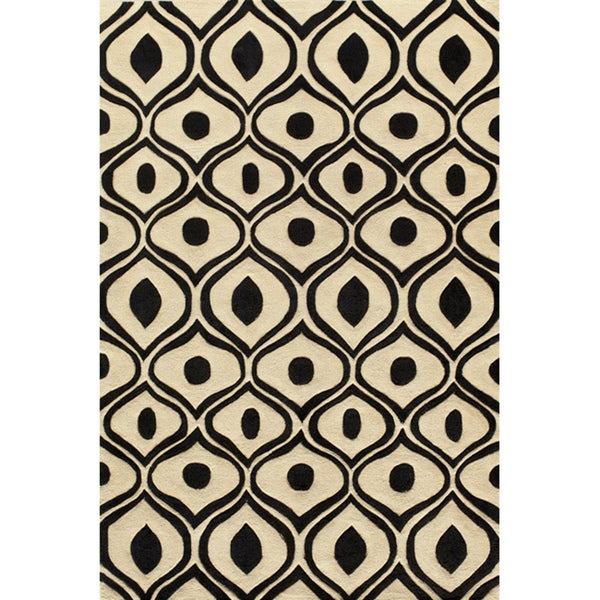 Modern Waves Black Hand-Tufted Rug (8' x 10')