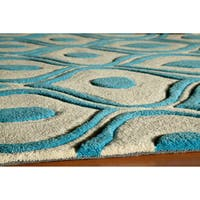Momeni Bliss Blue Waves Hand-Tufted Rug (5' X75'6) - 5' x 7'6""