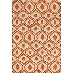 Modern Waves Orange Hand-Tufted Rug (2' x 3')