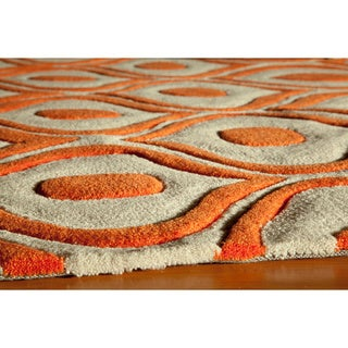 """Momeni Bliss Orange Waves Hand-Tufted Rug (3'6 X 5'6) - 3'6"""" x 5'6"""""""