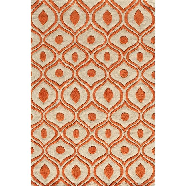 "Modern Waves Orange Hand-Tufted Rug (5' x 7'6"")"