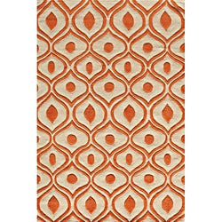 Modern Waves Orange Hand-Tufted Rug (8' x 10')