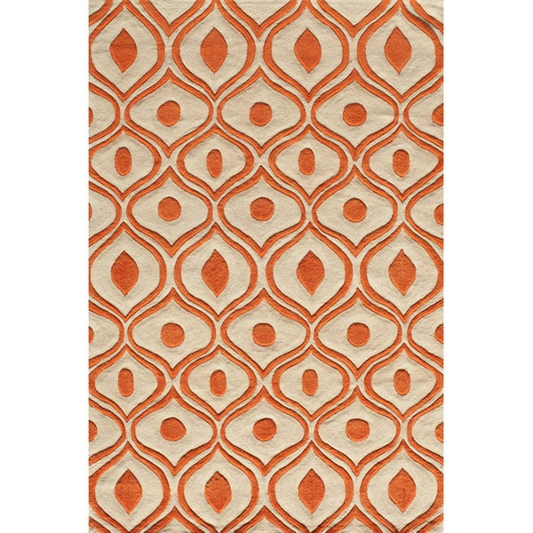 Momeni Bliss Orange Waves Hand-Tufted Rug (8' X 10')