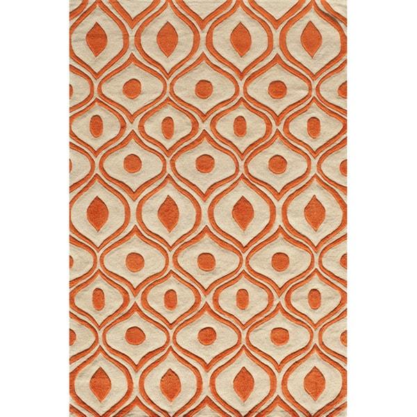 Momeni Bliss Orange Waves Hand-Tufted Rug (8' X 10') - 8' x 10'